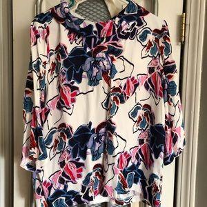Halogen floral print blouse size large NWT
